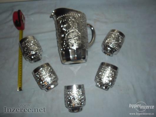 5 ks pohárků+džbánek-STŘÍBRNÝ NÁDECH-NOVÝ BOR