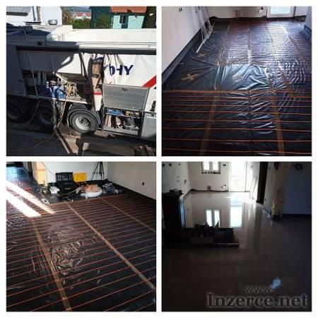Anhydritové a cementové podlahy, topení, izolace