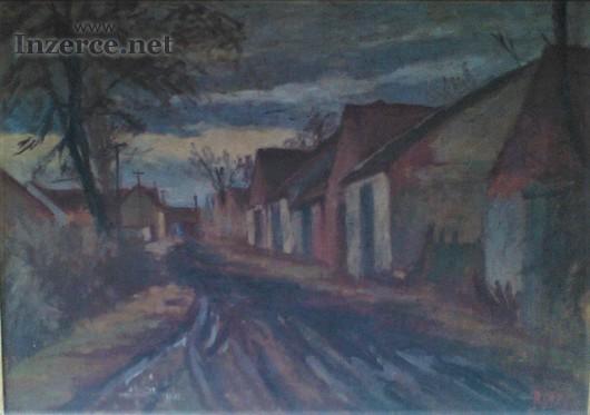 Jaroslav Blažek, Kostické stodole, olej