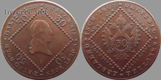 Koupím 15 a 30 krejcar 1807