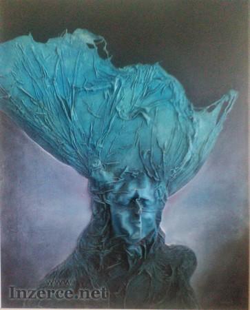 Miloš Uhrín - Modrá vlasatice, olej