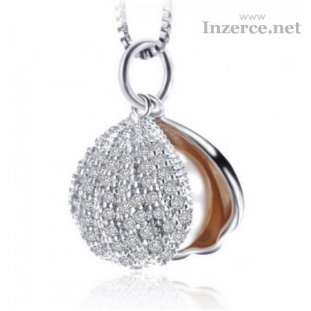 Náhrdelník stříbro perla v mušli