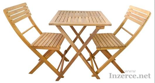 Sestava stolek a dvě židle akácie
