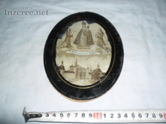 Starodávný modlitební skleněný obrázek-ikona