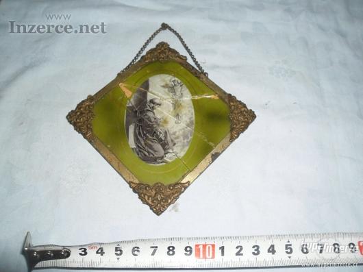 Starodávný modlitební skleněný obrázek - IKONA