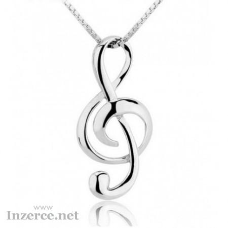 Stříbrný náhrdelník houslový klíč